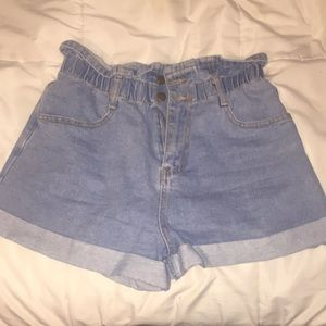 F21 contemporary paper bag denim short high waist